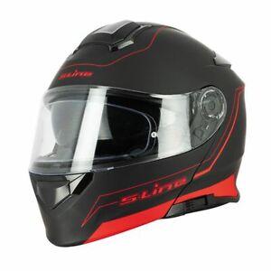 Casque-Moto-scooter-Modulable-Sifam-S550-Noir-Rouge-MAT-Double-visiere-Pinlock