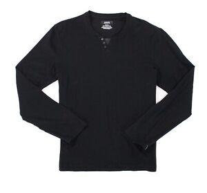 Alfani-NEW-Black-Coal-Mens-Size-Large-L-Henley-Long-Sleeve-T-Shirt-40-031