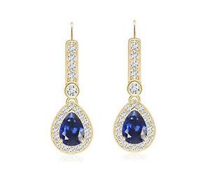 14KT Yellow Gold 2.32 Carat Natural Blue Tanzanite EGL Certified Diamond Studs