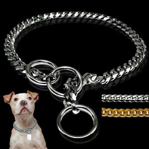 Chain-Dog-Training-Choke-Collar-Stainless-Steel-Slip-Curb-Snake-Gold-Silver-65cm