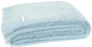 a6048ef30 Details about Masterweave Windermere Mohair Throw Rug Blanket in Glacier