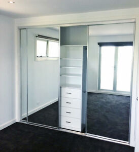 3 sliding mirror wardrobe doors 1800mm 2700mm wide x 2400mm high