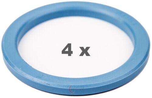 4 pezzi anelli di centraggio 72.2 mm a 56.6 mm blu chiaro//Lightblue