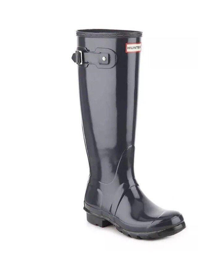 Hunter Femmes 10 Original Tall Gloss Nouveau  150 caoutchouc noir Bottes de pluie