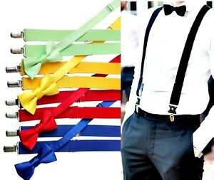 Hosenträger Jeans -Y Form Herren Damen Fliege Set Krawatten Bow 25mm 3 Clips