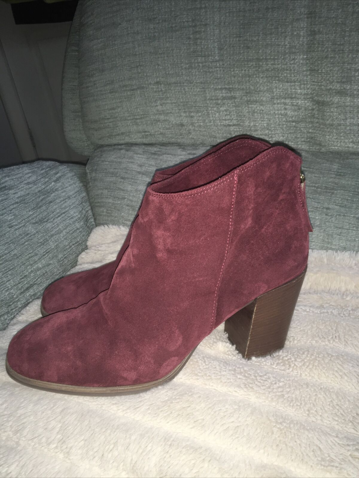 """Ladies Dark Cherry Suede Ankle Boots By """"CLARKS"""" size 6.5 uk"""