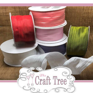 Crinkle Silk Wire Edged Ribbon--Comes in 40mm Width and various Lengths