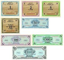 Lotto Italia 8 Banconote Lira AM Occupazione Americana  (Riproduzione)