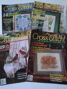 Cross-Stitch-Magazine-1991-1992-Lot-of-4-Mother-Flowers-Birds-Patterns
