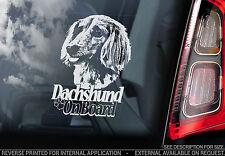 Dachshund - Car Window Sticker - Dog on Board Sign, Long-Haired Teckel - TYP8