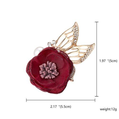 2020 Nuevo Moda Flor Tela Cristal Perla Broche Pin Boda Mujer Joyería