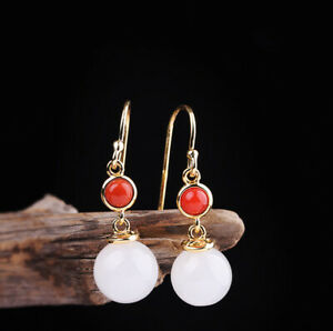 A03-Earring-Silver-925-Gold-Plated-Ball-Made-of-White-Jade-Red-Agate