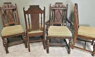 Swell 4 Antique C 1920S Jacobean Gothic Revival Hand Carved Feudal Oak Dining Chairs Ebay Bralicious Painted Fabric Chair Ideas Braliciousco