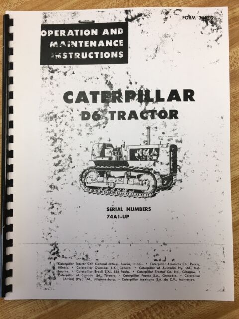 CAT Caterpillar D6 D6c Operator Manual Book Dozer Crawler Ser Num 74a1 up