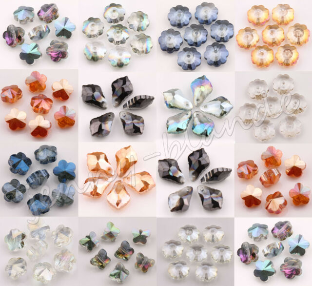 Wholesale Clear AB Faceted Flower Leaves Glass Crystal Loose Spacer Bead Finding