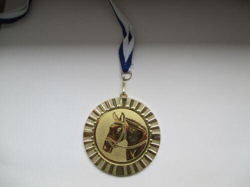 Reiten Pferd Pokal Kinder Medaillen 70mm 3er Set m Bändern Blau//Weiß Emblem 50mm