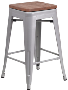 Brilliant Details About Backless Counter Height Bar Stool Silver Metal Wood Seat Kitchen Furniture Squirreltailoven Fun Painted Chair Ideas Images Squirreltailovenorg