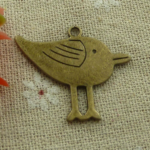 free ship 44 pieces Antique bronze bird charms 33x27mm #3173