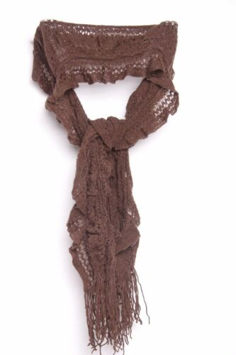 Dark Brown Knit With Bouncy Elements /& Ruffles Multi Occasion Scarf S239