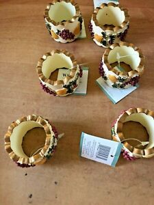 NWT-Set-of-6-Waverly-Garden-Room-Napkin-Rings-Manor-Room-Grapes-and-Pears-New