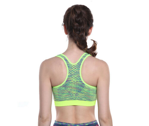 Womens Comfort Sports Bra Top Wiresless Breathable BRA Front Zip Gym Yoga Vest