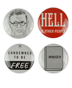 Jean Paul Sartre Badge Existentialism France Philosopher Nausea