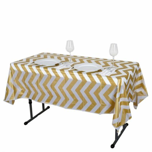 """Gold RECTANGLE 54x72/"""" Chevron Disposable Plastic Tablecloth Table Covers SALE"""