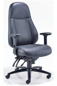 CHEETAH High Back Executive 24Hr Heavy Duty Chair Black Leather Office Chair