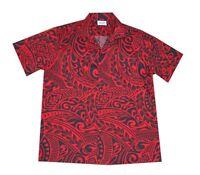 Cotton Blended Red Black Tattoo Polynesian Hawaiian Luau Aloha Men Shirt-m-4x