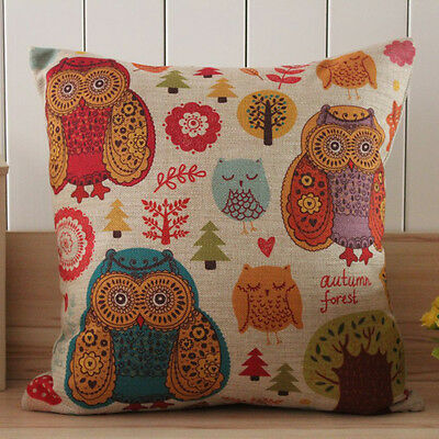 45*45cm Retro Colourful Owl Cartoon Trees Printed Linen Cushion Cover Kids Gift