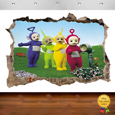 Teletubbies Tinky Winky Dipsy Laa 3d Smashed Wall View Sticker Poster Vinyl 58
