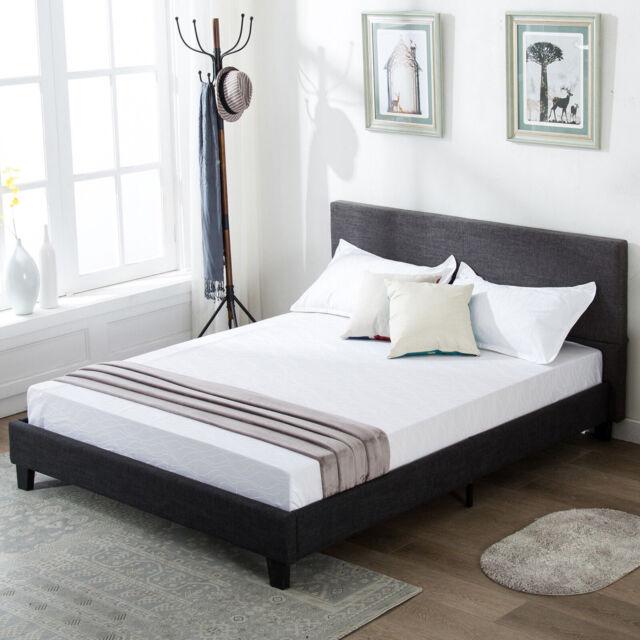 pretty nice f502e bac2b Full Size Platform Bed Frame Upholstered Gray Linen Headboard with Wood  Slats