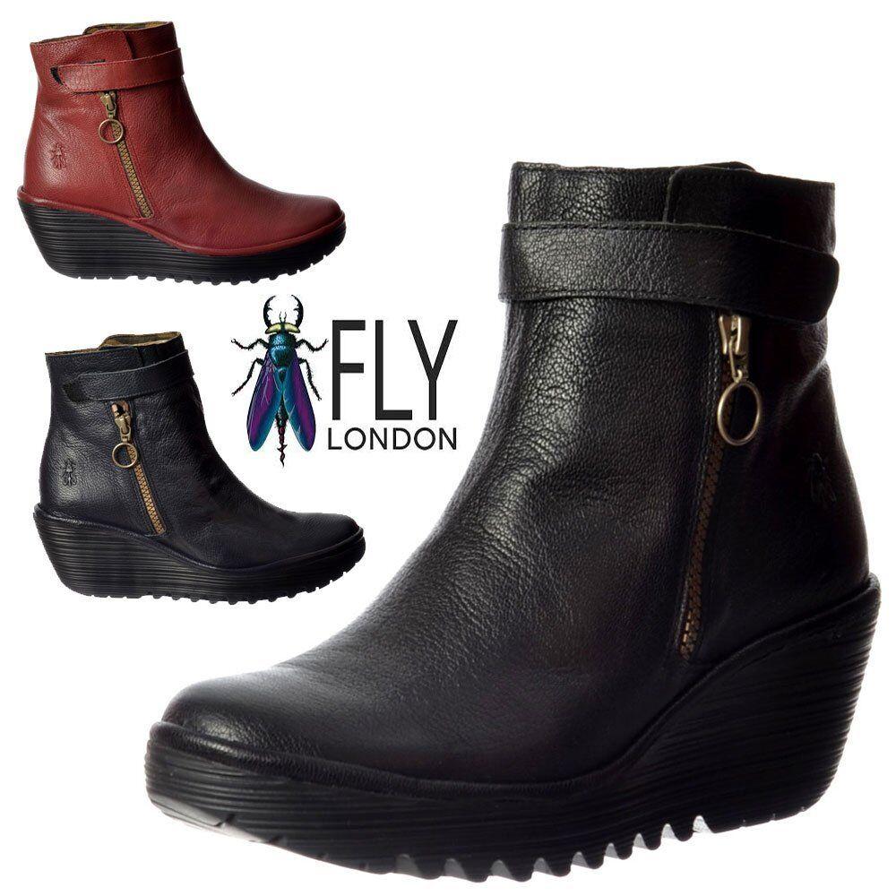 "7f7dc795 Mujer Mujer Mujer Fly London yava Cuero Botines Cuña Baja Suela dentada  Negro 5cff32. """