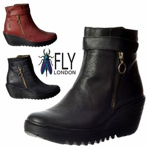 Bas Bottines Fly London Cheville Cuir Compensé Femmes Yava qvwYdt1wx
