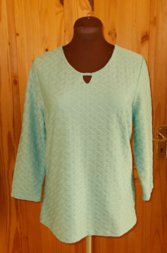 1 MAX aqua mint green stretch textured seersucker 34 sleeve tunic top 14 42