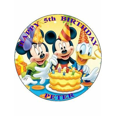 """MICKEY MOUSE - DESIGN 3  PERSONALIZED 7.5"""" CIRCLE ICING CAKE TOPPER"""