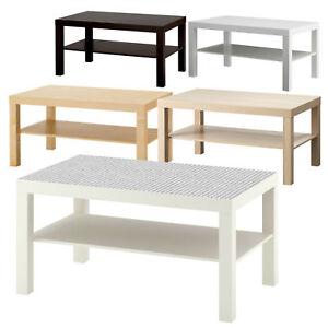 Details zu Ikea Lack Beistelltisch 90x55 cm Weiß Schwarz Birke Couchtisch  Wohnzimmertisch