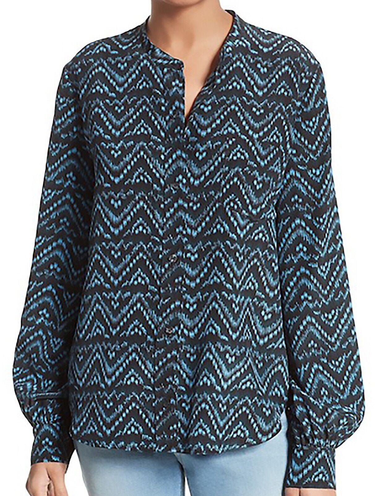 NWT New A.L.C. Blau Walter Print 100% Cotton Blouse Shirt Top Woherren Größe M