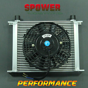 30-ROW-AN10-Engine-Transmission-Aluminum-Oil-Cooler-Silver-7-034-Electric-Fan-Kit