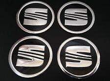 4X SEAT Logo Car Center Wheel Hub Cap Sticker - 60mm black silver
