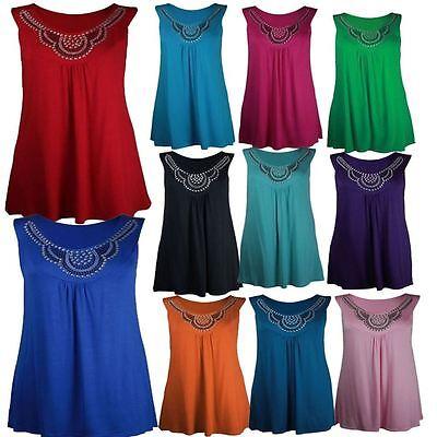 Neue Damen Plus Größe Perlen Neck-Detail verzierte Tuniken Tunika Westen 42-56