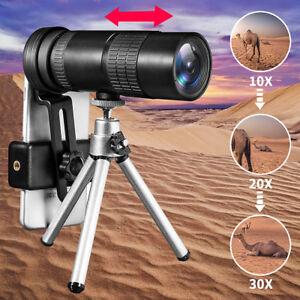 10-30x-ZOOM-Telephoto-Telescope-Optical-Monocular-Camera-Lens-Clip-Tripod