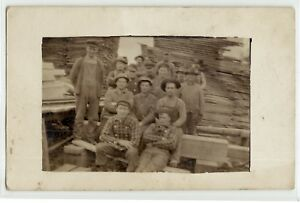 Lumber-workers-at-saw-mill-c-1910-real-photo-postcard-RPPC-wood-old