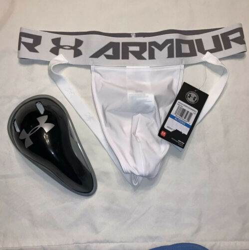 Large RARE White New Underarmour Jockstrap And  Performance Cup Adult X