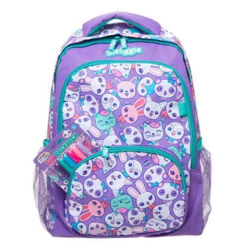 Smiggle Funky Diy Kit Backpack Purple cats 6 fabric markers boy girls bag school