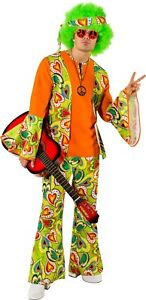 Mens Green 1960s Hippie Hippy Flower Power Fancy Dress Costume Outfit Size Large