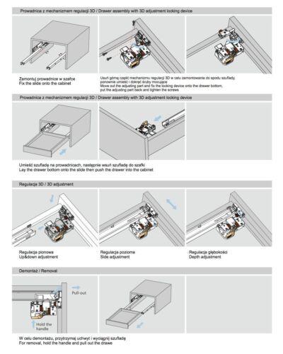 1 Paar 3D Frontverstellung Schubladenführung Schubkastenführung 40kg