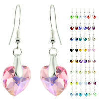 925 Sterling Silver Faceted Heart Pink Sapphire Ab Crystal Dangle Earrings