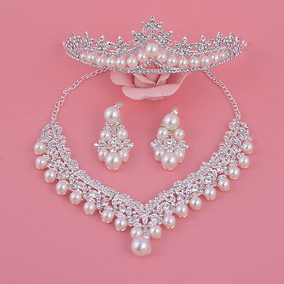 Elegant Big Pearl Crystal Wedding Party Prom Necklace Clip On Earrings Tiara Set