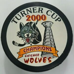 2000-CHICAGO-WOLVES-TURNER-CUP-CHAMPIONS-IHL-VINTAGE-HOCKEY-PUCK-CZECHOSLOVAKIA